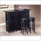 Home Styles Furniture Ebony Folding Home Bar with Single 30 Swivel Bar Stool in Black and Chrome
