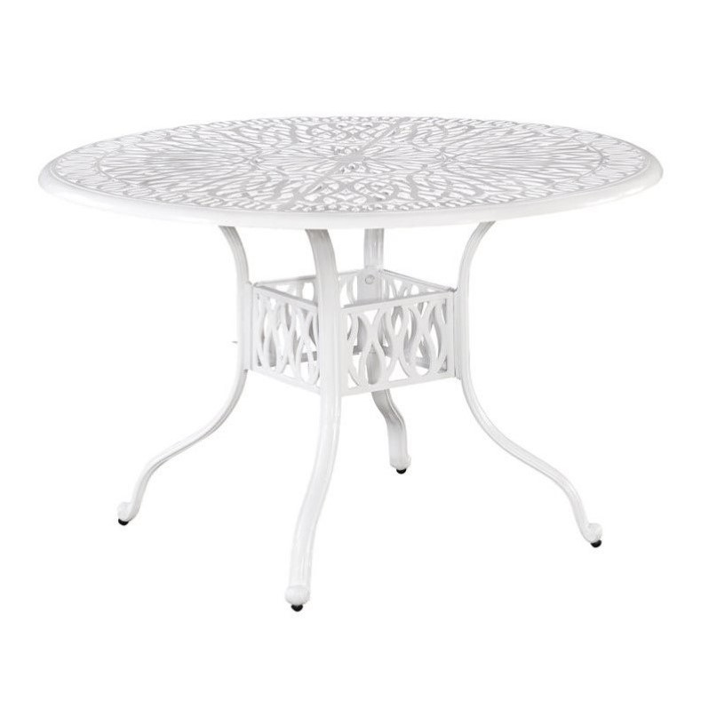 Home Styles Floral Blossom 48 Round Dining Table in White