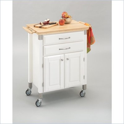 Home Styles Furniture Madison Prep and Serve Kitchen Cart in White Finish