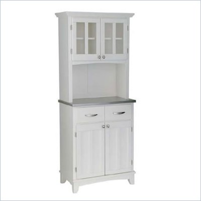 Home Styles Steel Top Buffet Server and 2-Door Panel Hutch in White