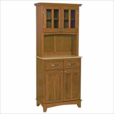Home Styles Furniture Cottage Oak Wood Buffet with Natural Wood Top and 2-Door Panel Hutch
