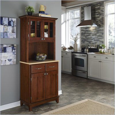Home Styles Furniture Cherry Wood Buffet with Natural Wood Top and 2-Door Panel Hutch