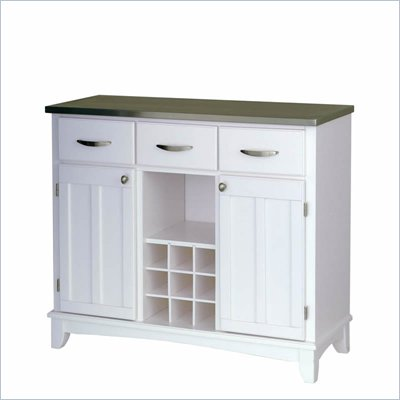 Home Styles Furniture Large White Base and Stainless Steel Top Buffet Kitchen Island