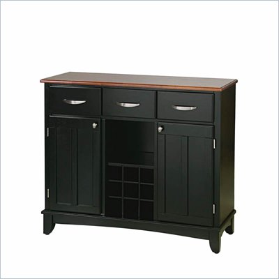 Home Styles Furniture 3 Drawer Large Wood Top Buffet in Black