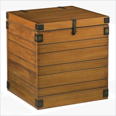 Home Styles Small Planked Storage Blanket Chest in Honey Oak Finish