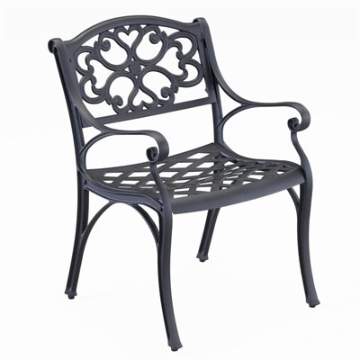 Home Styles Outdoor Dining Arm Chair in Black Finish (Set of 2)
