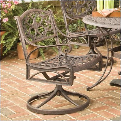 Home Styles Outdoor Swivel Dining Arm Chair in Rust Brown Finish