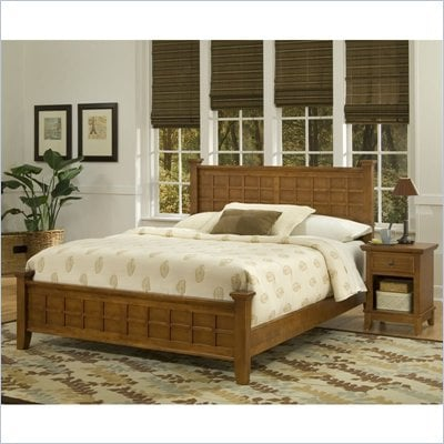 Home Styles Arts &amp; Crafts Queen Bed &amp; Night Stand in Cottage Oak