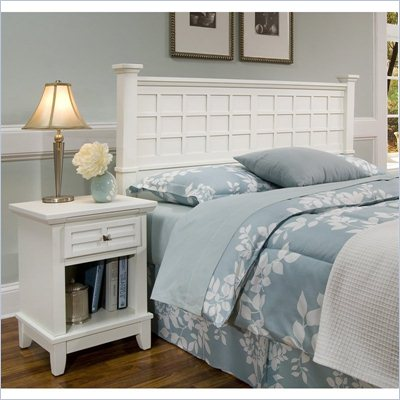 Home Styles Arts &amp; Crafts Headboard &amp; Night Stand in White Finish