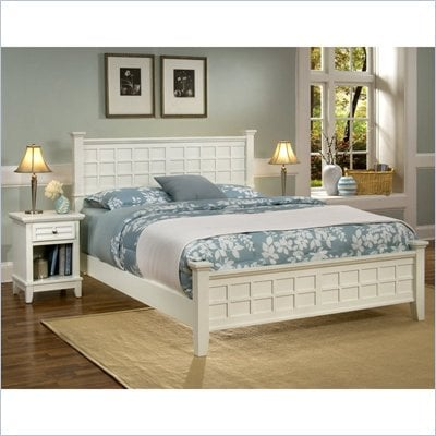 Home Styles Arts &amp; Crafts Queen Bed and Night Stand in White Finish