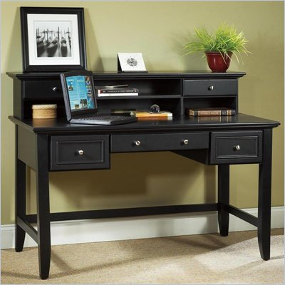 Home Styles Furniture Bedford Solid Wood Executive Home Office Writing Desk with Hutch Set in Ebony