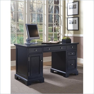Home Styles Bedford Pedestal Desk in Ebony