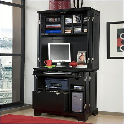 Home Styles Furniture Bedford Cabinet &amp; Hutch in Ebony