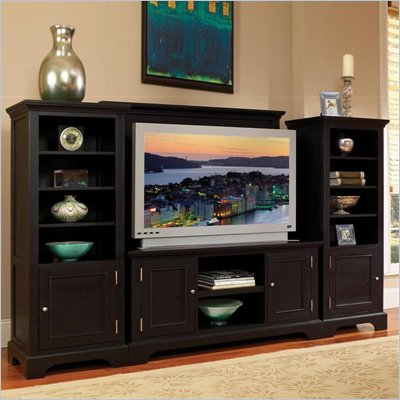 Home Styles Furniture Bedford Ebony 4 PC Wood Entertainment Center