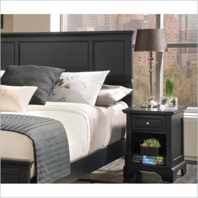 Home Styles Bedford Queen Wood Panel Headboard 2 Piece Bedroom Set in Ebony