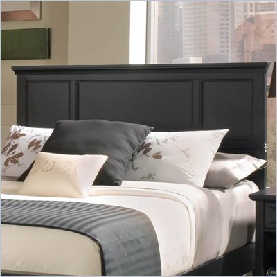 Home Styles Bedford Queen Wood Panel Headboard 3 Piece Bedroom Set in Ebony