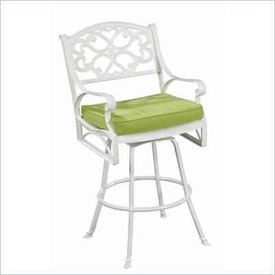 Home Styles Biscayne Bistro Stool with Cushion in White Finish