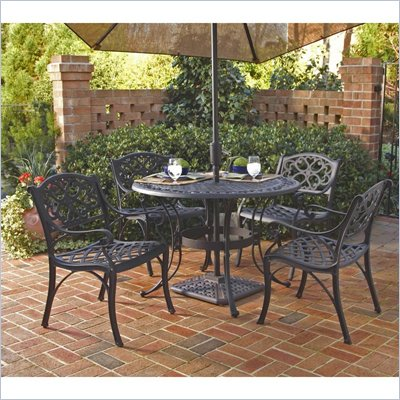 Home Styles Biscayne 5PC 42&quot; Round Outdoor Dining Set in Black Finish