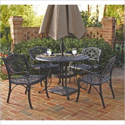 "Home Styles Biscayne 5PC 48"" Round Outdoor Dining Set in Black Finish"