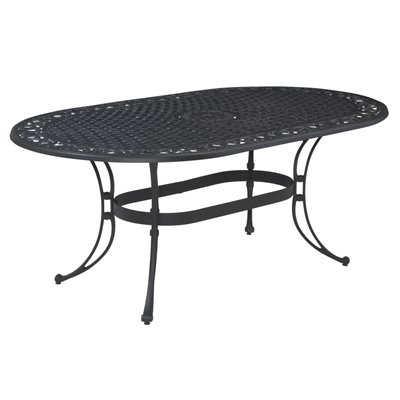 Home Styles Biscayne Oval Outdoor Dining Table in Black Finish