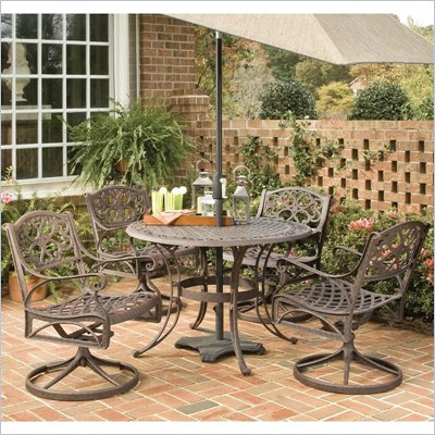 "Home Styles Biscayne 5PC 42"" Round Outdoor Dining Set in Rust Brown"