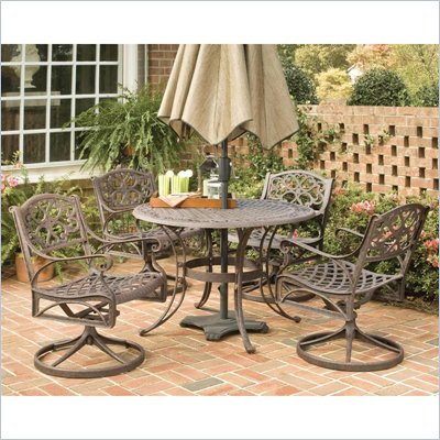 Home Styles Biscayne 5PC 48&quot; Round Outdoor Dining Set in Rust Brown
