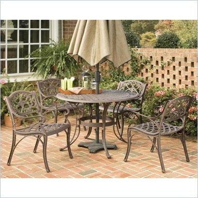Home Styles Biscayne PC 48&quot; Round Outdoor Dining Set in Rust Brown