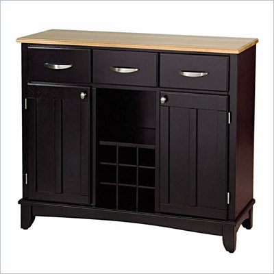 Home Styles Furniture Wood Top Large Buffet in Black