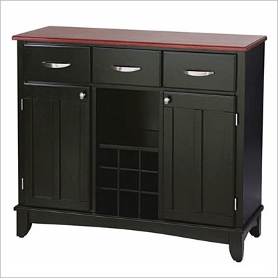 Home Styles Furniture 3 Drawer Large Wood Top Buffet Server in Black