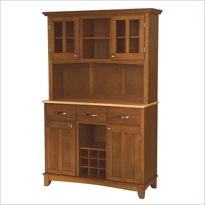 Home Styles Furniture Large Cottage Oak Buffet with Natural Wood Top and 2-Door Hutch