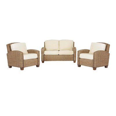 Home Styles Furniture Cabana Banana 3 Piece Set: 2 Chairs, and Love Seat in Honey finish