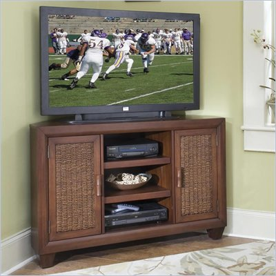 Home Styles Cabana Banana Corner TV Stand in Cocoa Finish
