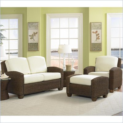 Home Styles Furniture Cabana Banana 3 Piece Set: Chair, Ottoman, Love Seat in Cocoa finish
