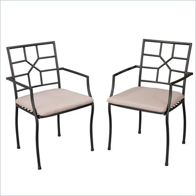 Home Styles Cambria Side Chairs in Black &amp; Taupe (Set of 2)