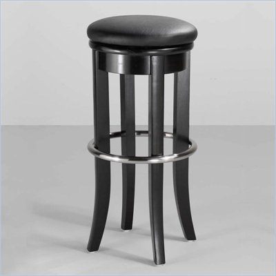 Home Styles 30&quot; Upholstered Swivel Top Bar Stool in Black and Chrome