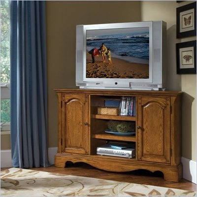 Home Styles Country Casual Corner Entertainment TV Stand in Distressed Oak Finish