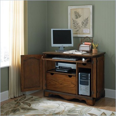 Home Styles Country Casual Compact Office Cabinet in Distressed Oak