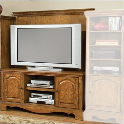 Home Styles Furniture Country Casual Wood TV Stand with Back Panel in Distressed Oak Finish