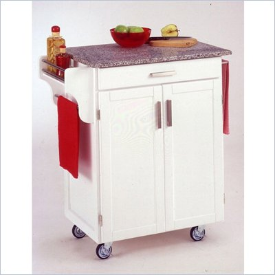 Home Styles Furniture White Wood Cart with Salt and Pepper Granite Top