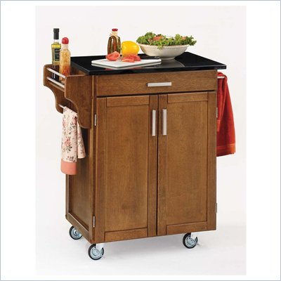 Home Styles Furniture Cottage Oak Wood Kitchen Cart with Black Granite Top