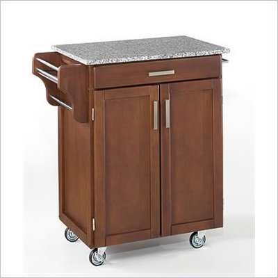 Home Styles Furniture Kitchen Cart in Cherry with Salt &amp; Pepper Granite Top