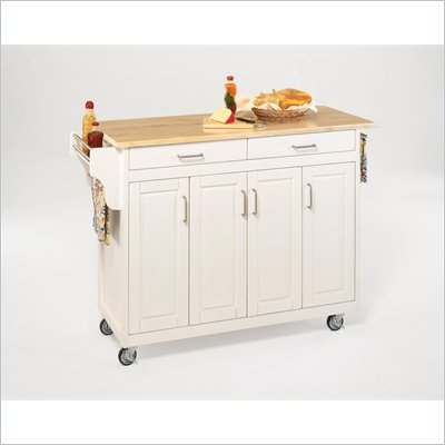 Home Styles Create-a-Cart 49 Inch Wood Top Kitchen Cart in White