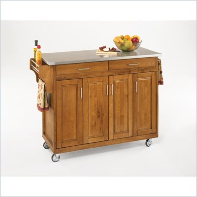 Home Styles Create-a-Cart 49 Inch Stainless Top Kitchen Cart in Cottage Oak
