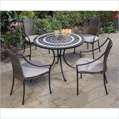 Home Styles Delmar Table &amp; 4 Laguna Slope Arm Chairs in Black &amp; Grey