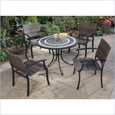 Home Styles Delmar Table & 4 Newport Arm Chairs in Black & Grey