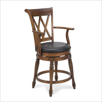 Home Styles Deluxe Bar Stool in Distressed Cottage Oak Finish