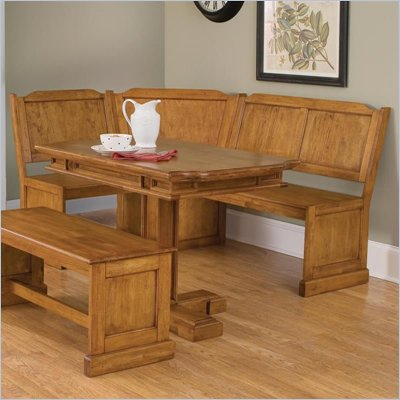 Home Styles Rectangular Dining Nook Table in Distressed Oak Finish