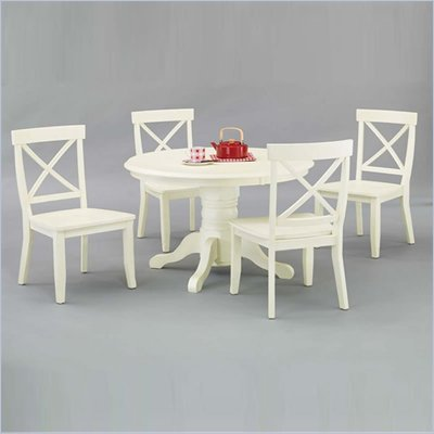 Home Styles Furniture 5 Piece Round Dining Table Set in Antique White