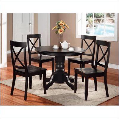 5 Piece Black Pedestal Dining Table Set crafted by Home Styles Furniture