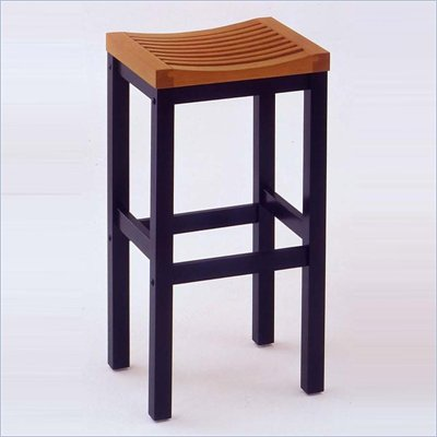 "Home Styles Furniture Solid Hardwood 24"" Bar Stool in Black and Cottage Oak"